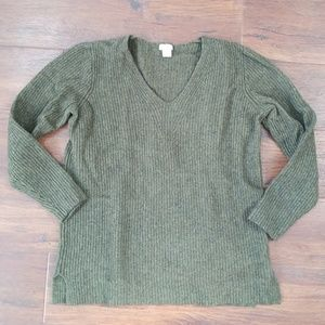 J.Crew hunter green v neck sweater M